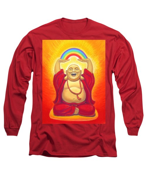 Laughing Rainbow Buddha Long Sleeve T-Shirt by Sue Halstenberg