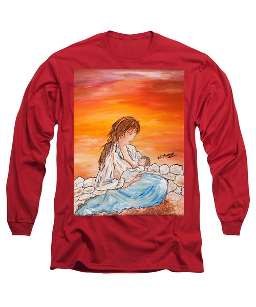 Long Sleeve T-Shirt featuring the painting Legame Continuo by Loredana Messina