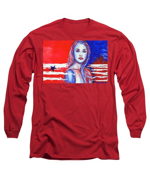 Long Sleeve T-Shirt featuring the painting Liberty American Girl by Anna Ruzsan
