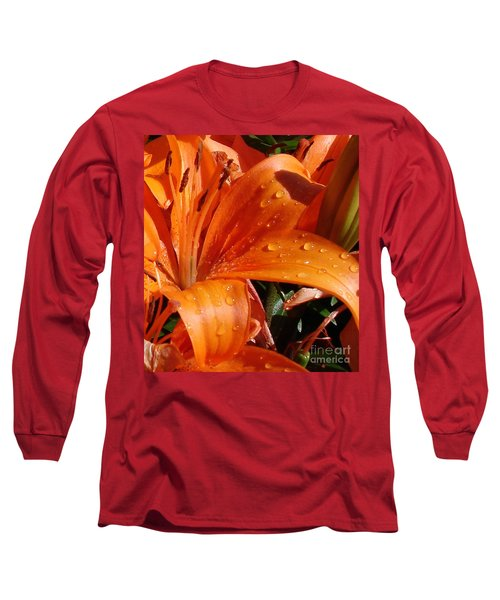 Long Sleeve T-Shirt featuring the photograph Lily Drops by Kerri Mortenson