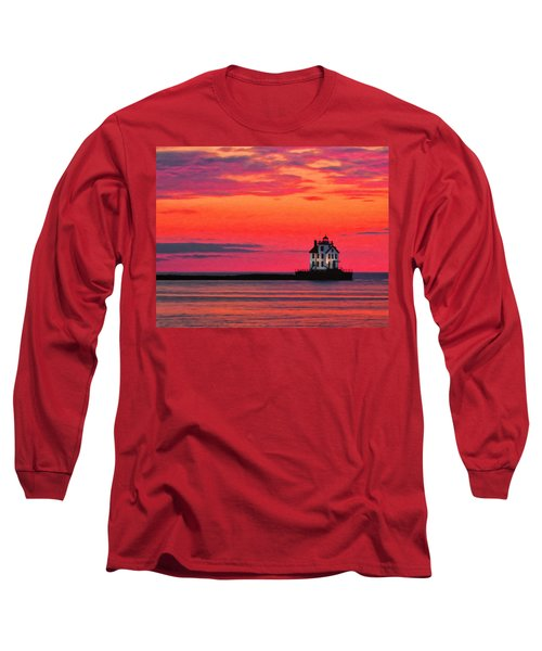 Lorain Lighthouse At Sunset Long Sleeve T-Shirt