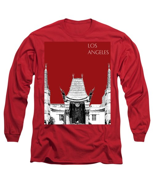 Los Angeles Skyline Graumans Chinese Theater - Dark Red Long Sleeve T-Shirt