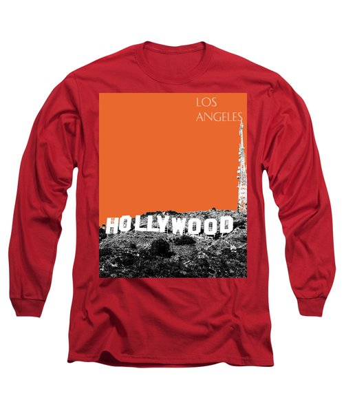 Los Angeles Skyline Hollywood - Coral Long Sleeve T-Shirt
