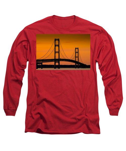 Mackinac Bridge Sunset Long Sleeve T-Shirt