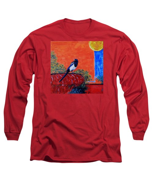 Magpie Singing At The Bath Long Sleeve T-Shirt by Xueling Zou
