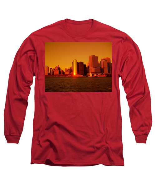 Manhattan Skyline At Sunset Long Sleeve T-Shirt