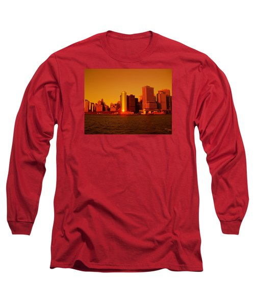 Manhattan Skyline At Sunset Long Sleeve T-Shirt
