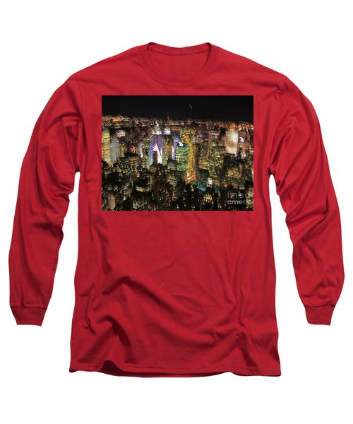 Long Sleeve T-Shirt featuring the photograph Manhattan Skyline Empire State Wobbles by Andy Prendy