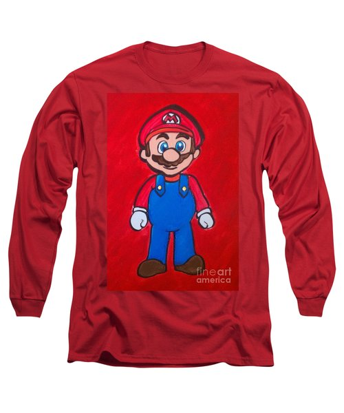 Long Sleeve T-Shirt featuring the painting Mario by Marisela Mungia