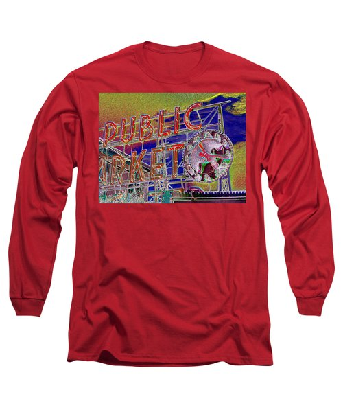 Market Clock 1 Long Sleeve T-Shirt by Tim Allen