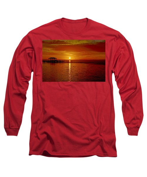 Long Sleeve T-Shirt featuring the photograph Mass Migration Of Birds With Colorful Clouds At Sunrise On Santa Rosa Sound by Jeff at JSJ Photography