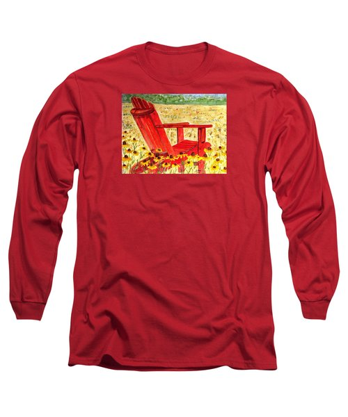 Long Sleeve T-Shirt featuring the painting Meet Me In The Meadow by Angela Davies