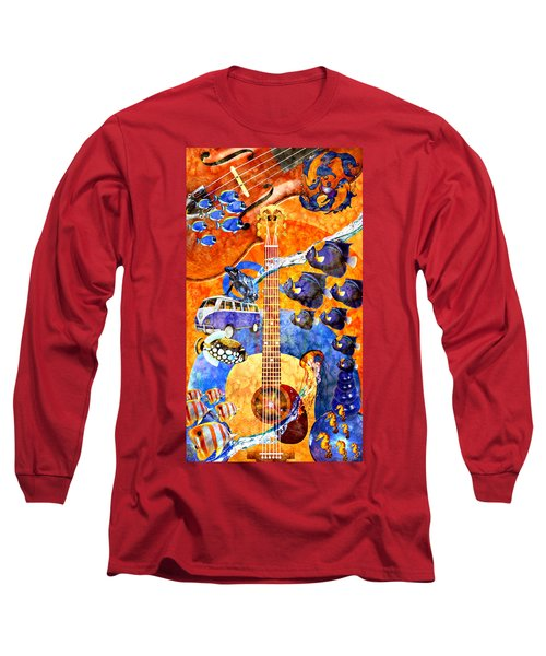 Melodies And Sunset Seas Long Sleeve T-Shirt by Ally  White