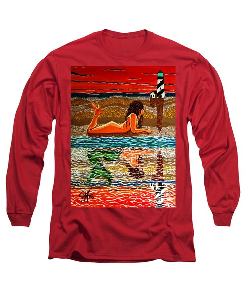 Mermaid Day Dreaming  Long Sleeve T-Shirt by Jackie Carpenter