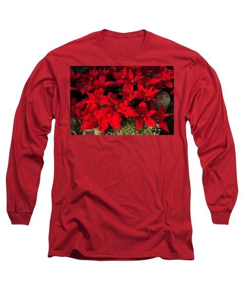 Merry Scarlet Poinsettias Christmas Star Long Sleeve T-Shirt