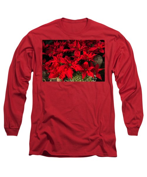 Merry Scarlet Poinsettias Christmas Star Long Sleeve T-Shirt