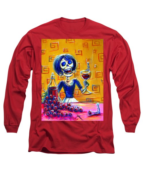 Long Sleeve T-Shirt featuring the painting Mi Cabernet by Heather Calderon