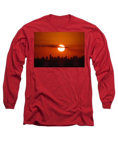 Long Sleeve T-Shirt featuring the photograph Miami Sunset by Jennifer Wheatley Wolf
