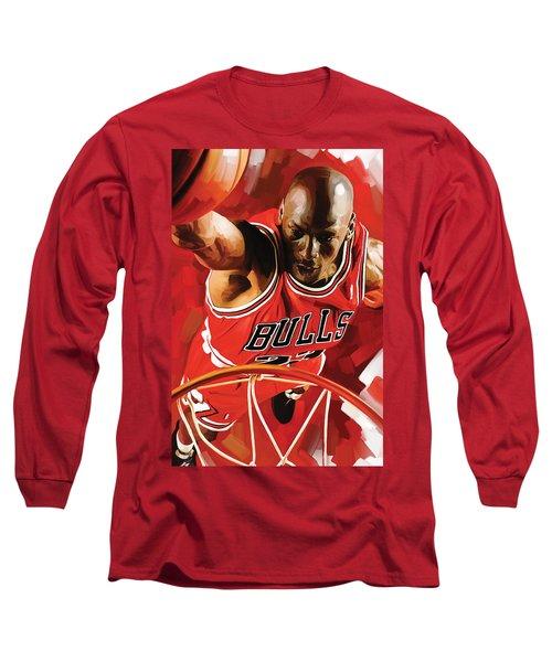 Michael Jordan Artwork 3 Long Sleeve T-Shirt by Sheraz A