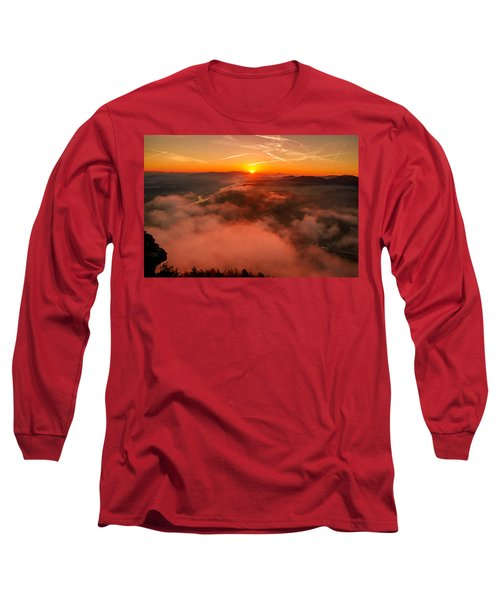 Misty Sunrise On The Lilienstein Long Sleeve T-Shirt