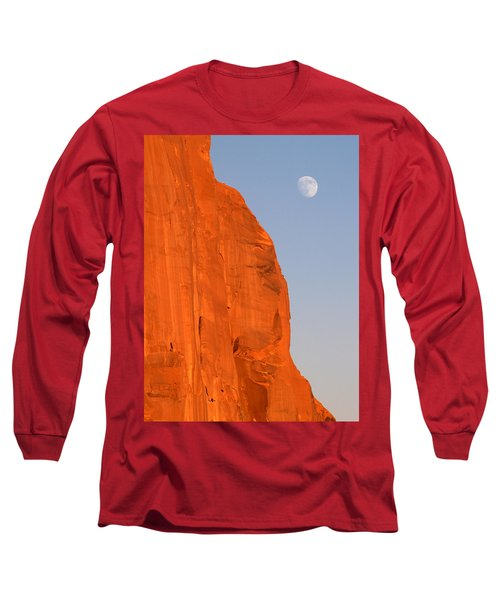 Moon At Monument Valley Long Sleeve T-Shirt