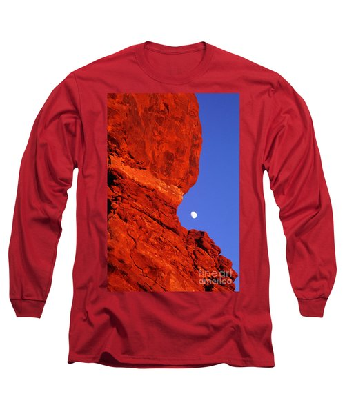 Long Sleeve T-Shirt featuring the photograph Moonrise Balanced Rock Arches National Park Utah by Dave Welling