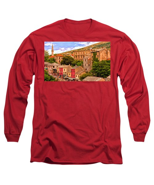 Long Sleeve T-Shirt featuring the painting Mostar by Michael Pickett