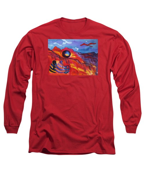 Native Women At Window Rock Long Sleeve T-Shirt by Ellen Levinson