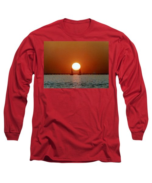 Long Sleeve T-Shirt featuring the photograph New Orleans Sailing Sun On Lake Pontchartrain by Michael Hoard