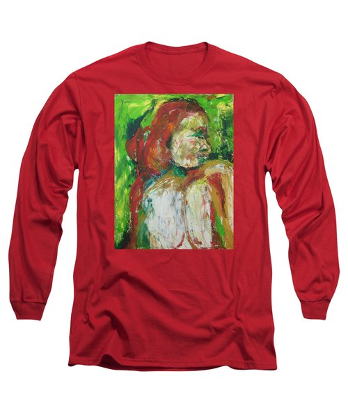 Long Sleeve T-Shirt featuring the painting Thinking Of You by Esther Newman-Cohen
