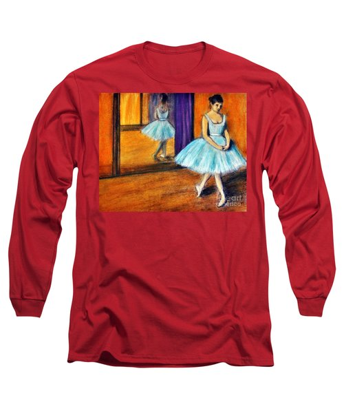Long Sleeve T-Shirt featuring the drawing Ode To Degas by Michael Cross