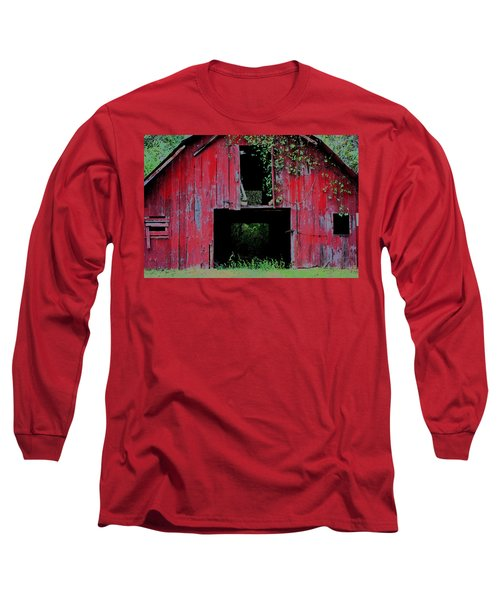 Long Sleeve T-Shirt featuring the photograph Old Red Barn IIi by Lanita Williams