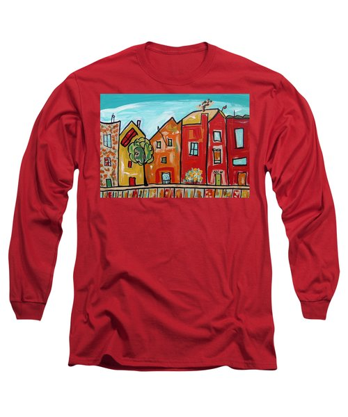 Long Sleeve T-Shirt featuring the painting One House Has A Screen Door by Mary Carol Williams