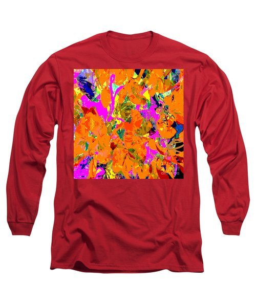 Long Sleeve T-Shirt featuring the digital art Orange Abstract by Barbara Moignard