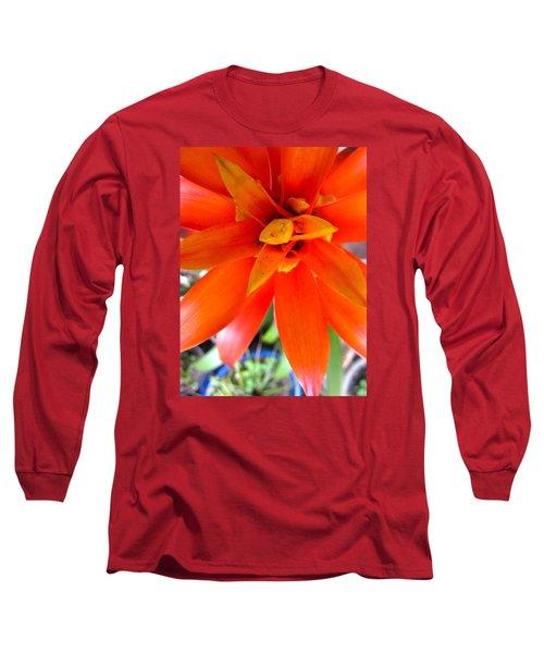 Orange Bromeliad Long Sleeve T-Shirt by Lehua Pekelo-Stearns