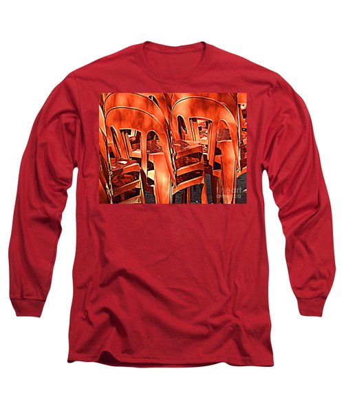 Orange Chairs Long Sleeve T-Shirt by Valerie Reeves