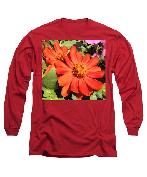 Orange Daisy In Summer Long Sleeve T-Shirt