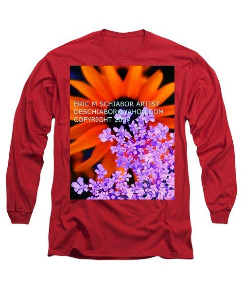 Orange Lavender Flower Long Sleeve T-Shirt