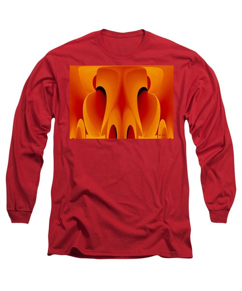 Long Sleeve T-Shirt featuring the mixed media Orange Mask by Rafael Salazar