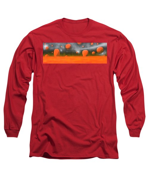 Long Sleeve T-Shirt featuring the painting Orange Planet by Tim Mullaney