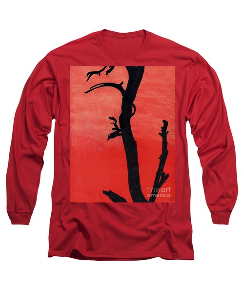Long Sleeve T-Shirt featuring the drawing Orange Sunset Silhouette Tree by D Hackett