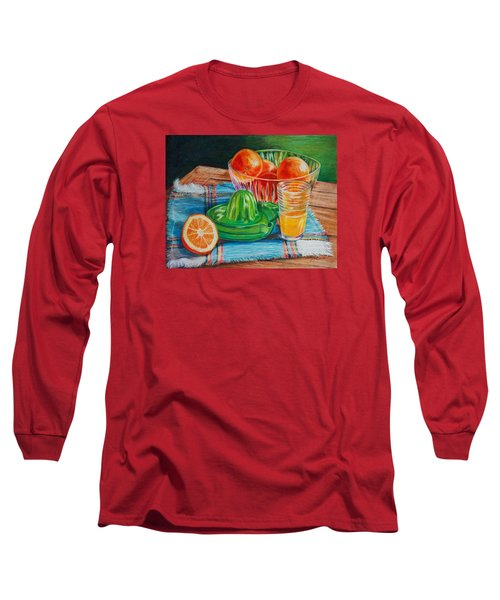 Long Sleeve T-Shirt featuring the drawing Oranges by Joy Nichols