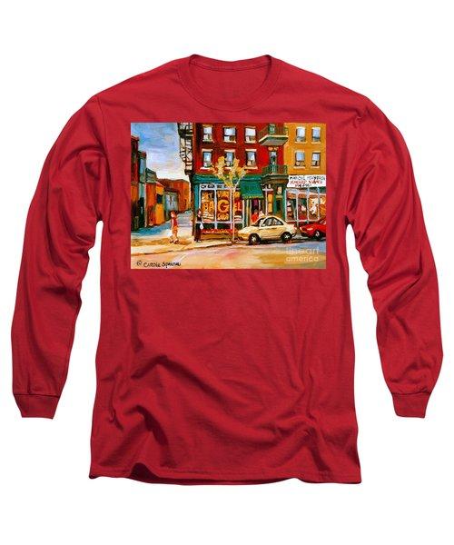 Paintings Of  Famous Montreal Places St. Viateur Bagel City Scene Long Sleeve T-Shirt