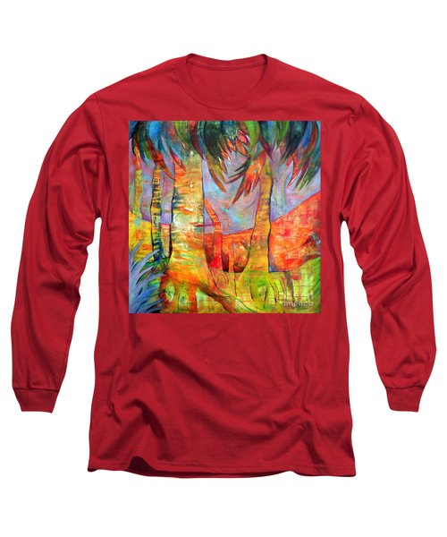 Long Sleeve T-Shirt featuring the painting Palm Jungle by Elizabeth Fontaine-Barr