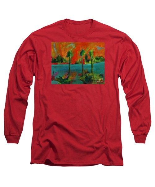 Palm Trio Sunset Long Sleeve T-Shirt