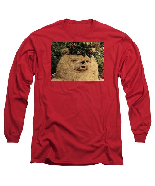 Papa Bear Gets Christmas Spirit Long Sleeve T-Shirt by Nadalyn Larsen