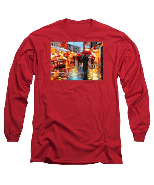Parisian Rain Walk Abstract Realism Long Sleeve T-Shirt