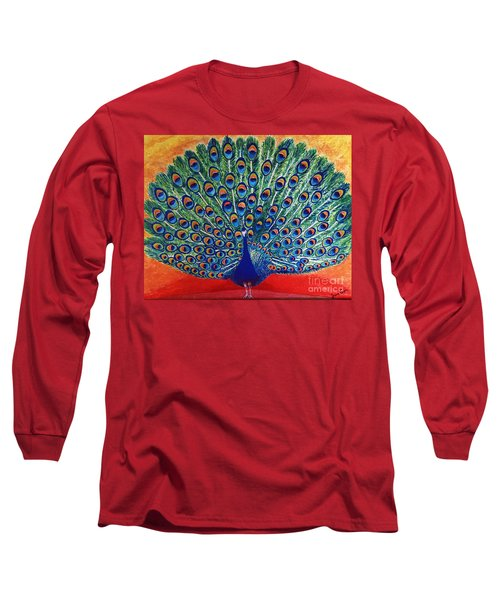 Long Sleeve T-Shirt featuring the painting Peacock By Jasna Gopic by Jasna Gopic