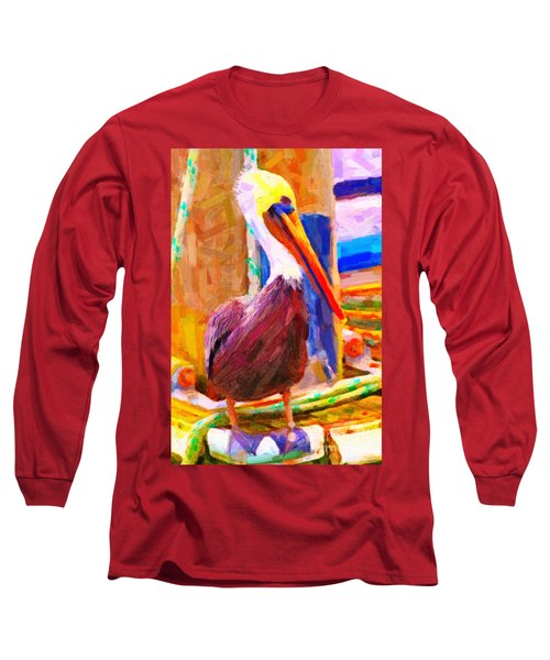 Pelican On The Dock Long Sleeve T-Shirt