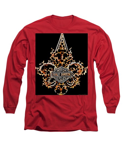 Long Sleeve T-Shirt featuring the digital art Perforated Fleurs De Lys With Harley Davidson Logo by Danielle  Parent